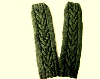 Women's Clothing, Dark Green Leg Warmers, Boot Toppers, Boot Cuffs, Pure Chunky Wool, Horseshoe Cables, Ready To Ship