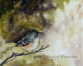 bird watercolor bird painting Bird PRINT Large Watercolor bird print Shabby Chic Bird Print Vireo Vintage inspired green