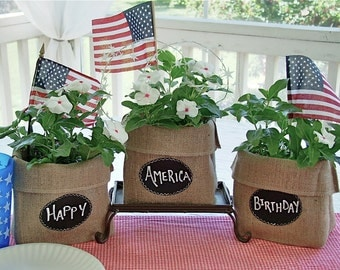 Burlap Party Goody Bag with Re-Useable Chalkboard Label for a Gift, Centerpiece or Decoration