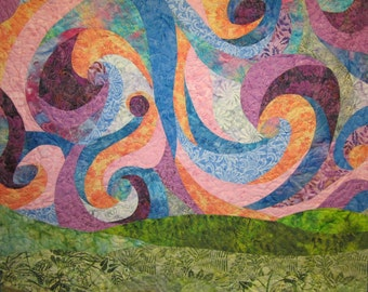 Colorful Storm wall Hanging Art Quilt