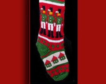 Hand knit Christmas stocking,  Personalized, made of pure wool yarn,  fully lined -- salute nutcracker, house and wreath