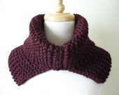 Knit Cowl Neck Warmer Chunky Reversible Split Collar in Claret Soft and Warm Neck Wrap - Ready to Ship - Direct Checkout
