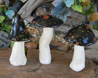 Handmade Fairy Garden Mushrooms 3 ceramic mushroom miniatures Poison. .toadstool  tops  terrarium or Fairy gardens funky fungi Ready to ship