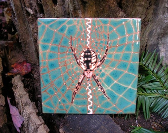 Garden Spider Tile, AVAILABLE NOW, Arts and Crafts style,  great for a housewarming, gardener, nature lover