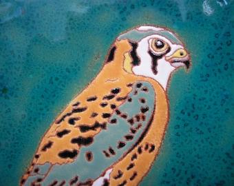 Kestrel bird tile  CUSTOM ORDER - 4-6 wks production time-, bird of prey tile for the birder, kitchen, bath, fireplace surround