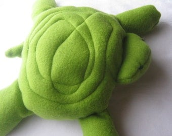 Green Turtle Toy Soft  Stuffed Animal Quilted Design Washable No Buttons Plush Plushie
