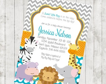 DIY Printable Animal Baby Shower Invitation/ Printable Digital File/Zoo Baby Shower