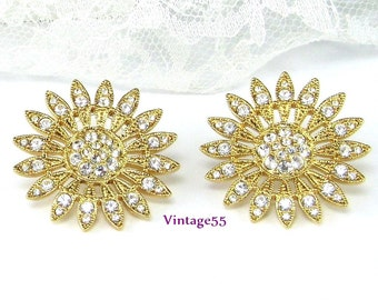 Earrings Rhinestone Summer Daisy Pierced post