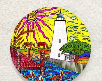 Ocracoke Island Lighthouse, Outer Banks NC, Ornament and Suncatcher