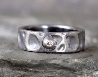 Men's Diamond Wedding Band - Sterling Silver Rustic Bands - Textured - Oxidized - Industrial Style Modern Rings