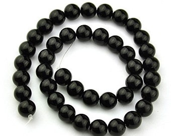 Black Stone Beads I - Sold per strand - 10mm - #BST1142
