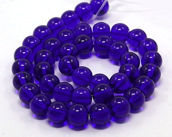 Royal Blue - Transparent Glass Beads - 8mm - #GBS105