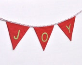 "Christmas Banner, Holiday Bunting, Fabric Banner,  ""JOY"""