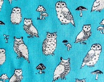 Animal Print Fabric By The Yard - Cotton Linen Blend - Owl Power on Bright Blue - Fat Quarter
