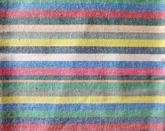 Japanese Fabric - Colorful Stripes on Cream - Cotton Fabric By The Yard - Half Yard