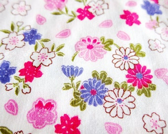 Floral Fabric - Purple and Pink Oriental Blooms Fabric By The Yard - Half Yard
