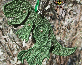Dino Green Embroidered Poseable Lace Tyrannosaurus rex Tree Ornament