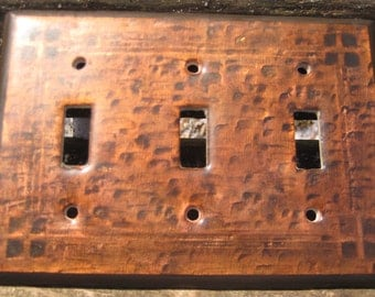 Hammered Arts and Crafts iridescent copper switch plate- 3 light