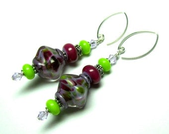 Purple Earrings Lampwork Earrings Bicone Earrings Artisan Earrings Beaded Earrings Glass Earrings Glass Bead Earrings Dangle Earrings