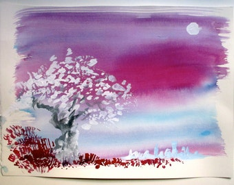 Original Small Painting - Night Tree against Lake City and Moon - approx 14x17 inches