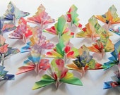 20 Small 3D Origami Peacock (Floral Print)