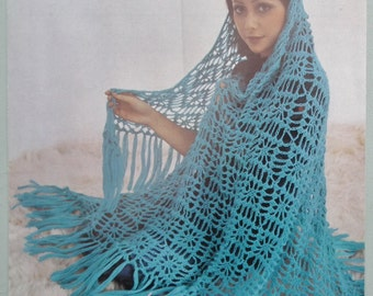 Vintage Crochet Pattern 1970s Women's Lacy Shawl Cobweb Pattern 70s original pattern Stitchcraft UK Patons No. 1122