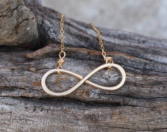 Infinity Necklace, 14K Gold Filled, Minimalist, Wire Jewelry