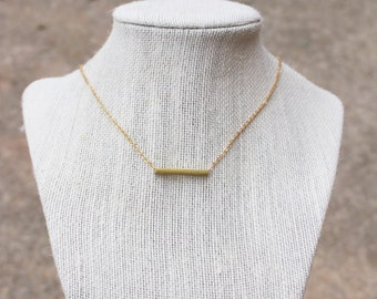 Gold Brass Bar Necklace