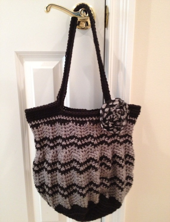 Beautiful Chevron Purse Crocheted in Soft Worsted in Grey and Black with Shabby Polka Dot Clip/Pin