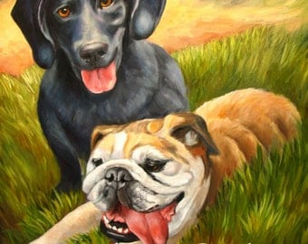 Custom Pet Portrait of two pets on 24 x 30 stretched canvas
