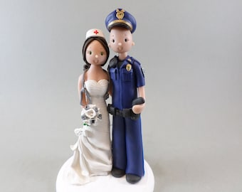 Wedding Cake Topper Custom Handmade  Police Officer & Nurse