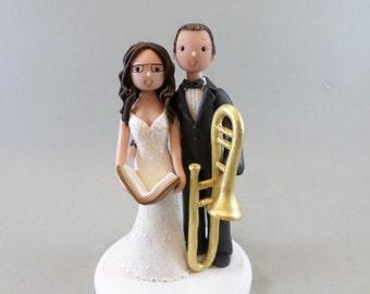 Bride & Groom with a Trumpet Custom Handmade Wedding Cake Topper