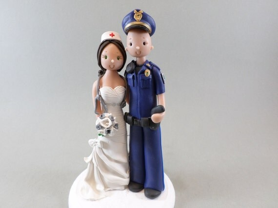 police officer and nurse wedding cake topper wedding cake topper custom handmade officer amp 18671
