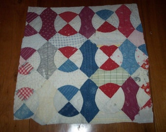 Antique Cutter Quilt Piece,Lots of Red,White and Blue