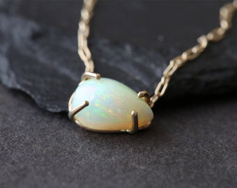 Asymmetrical Opal Teardrop Necklace