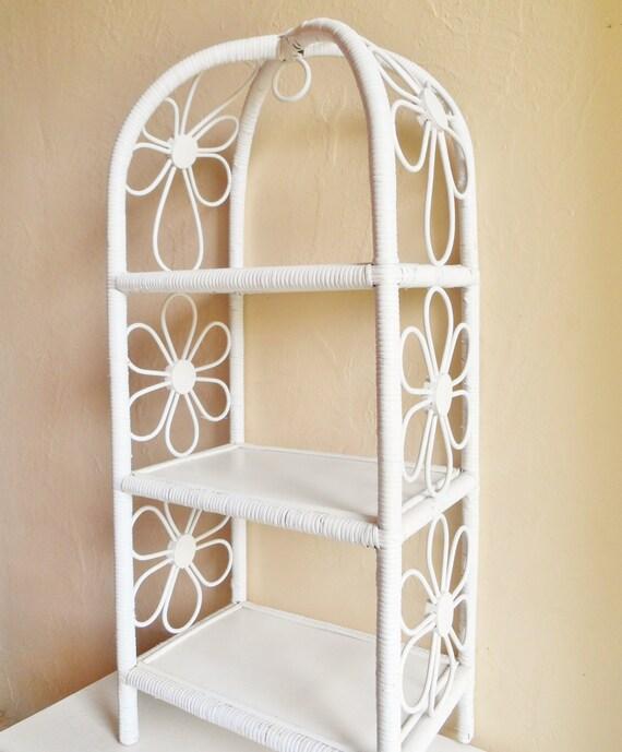 Tall Standing White Wicker Shelf Flower Design By Shabbynchic