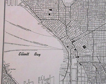 Vintage seattle map  Etsy