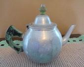 Vintage Aluminum Teapot Coffee Pot Sage Green Wood Handle Hi-Test USA