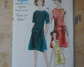 RESERVED FOR JAZZBUG  Vintage 1960s Sewing Pattern Vogue 5395, Two Piece Dress, bust 34
