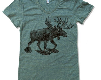 Womens MOOSE (in Snow Shoes) american apparel T Shirt S M L XL (16 Colors Available)