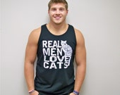 Cat shirt, Real Men Love Cats, mens workout tank, tank top, funny t-shirt, t-shirt mens, gift for boyfriend, husband gift, dad t-shirt, cat