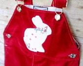 Velour Bunny Tea Party Overall in Maroon