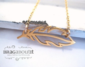 Feather Jewelry . Gold Feather Necklace . Sideways Feather Necklace . Layering Necklace . Brag About It . Float
