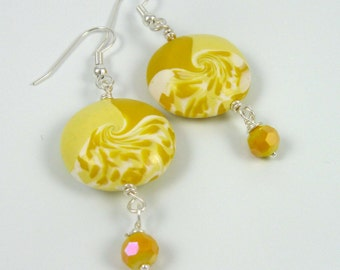 Sunshine yellow swirl earrings, polymer clay and glass beaded dangles on silver wire, Air Element jewelry