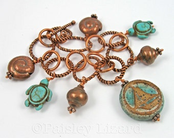 Nautical Charm Bracelet with sail boat, turquoise sea turtles, and copper sea shells, sailing jewelry