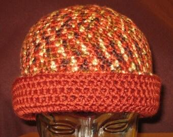 Ladies Reversible Doubled Rollup Hat Dark Orange/multi embers Crocheted
