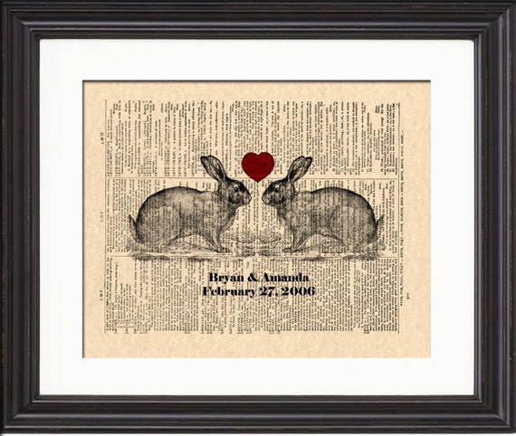 Bunny Love Art, Print, Custom Wedding & Anniversary Art, Bunny Rabbit Art Print, Vintage Dictionary Page Art, Names and Date Art