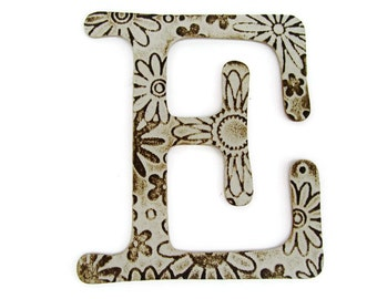 Chipboard letter E, 4 inch embossed letter, jeweled letter, wall decor, table decor, wedding decoration, custom sayings, names