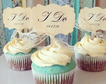Wedding cupcake toppers, I do, save the date, cupcake toppers