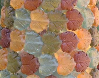 13x10mm Matte Transparent Fall Foliage Mix Czech Glass Leaf Beads - Qty 20 (AW215)